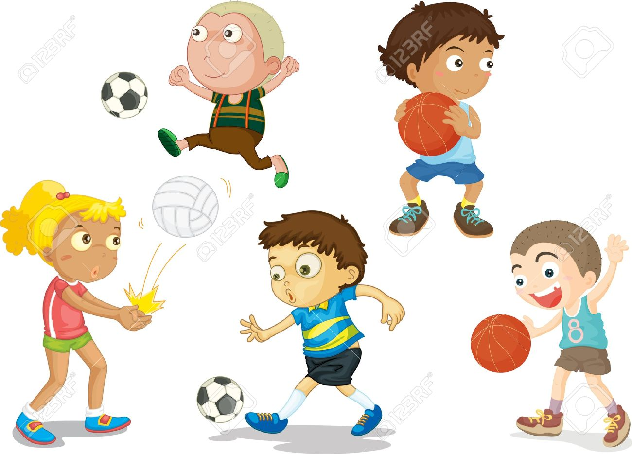 illustration of kids on white royalty free cliparts vectors and