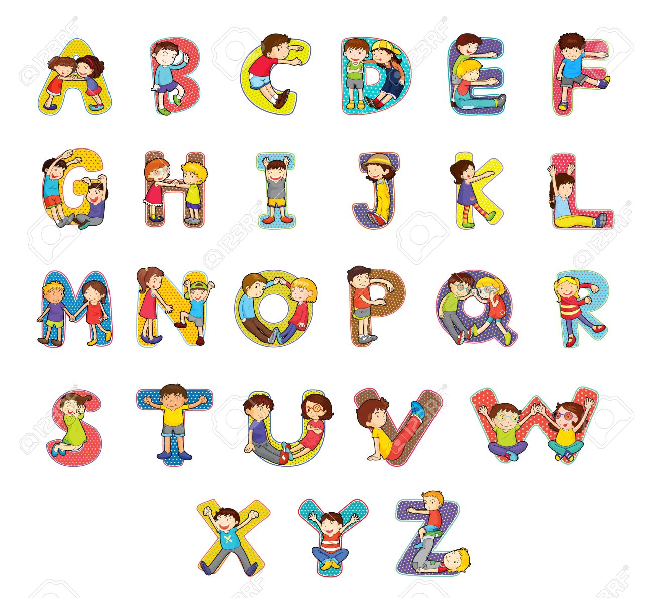 set of kid alphabet characters royalty free cliparts vectors and