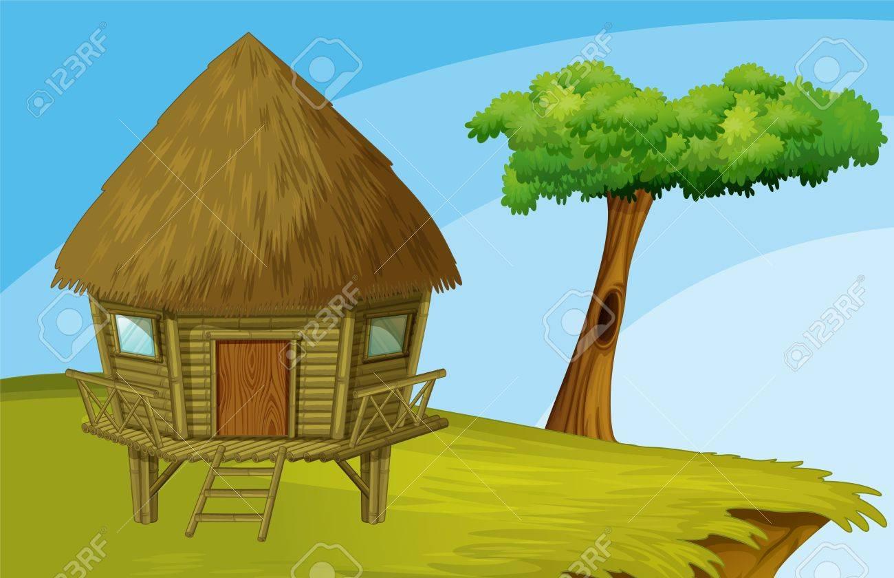Illustration of hut on a hill Stock Vector - 13131890