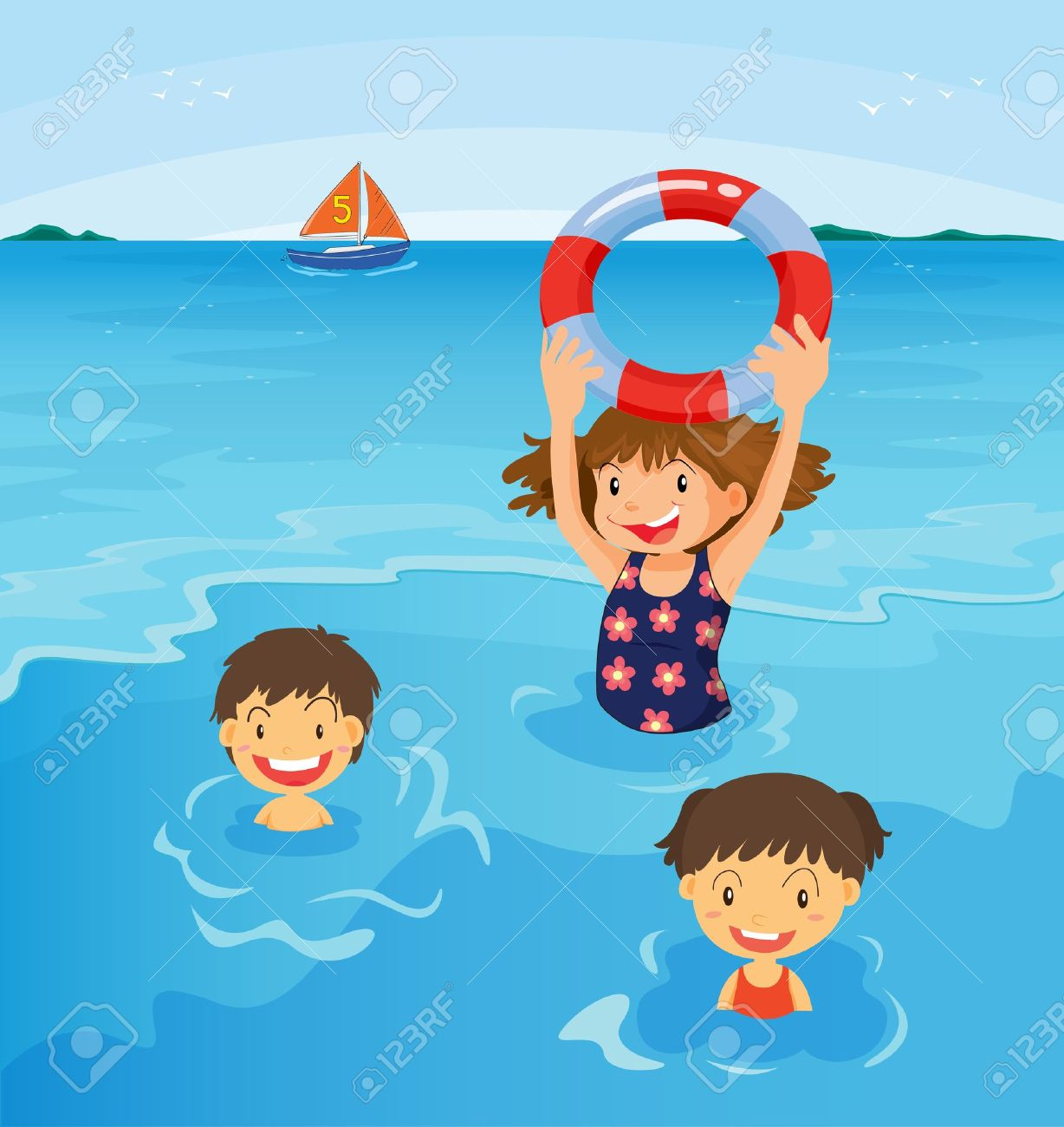 Kids Swimming At The Beach Illustration Stock Vector