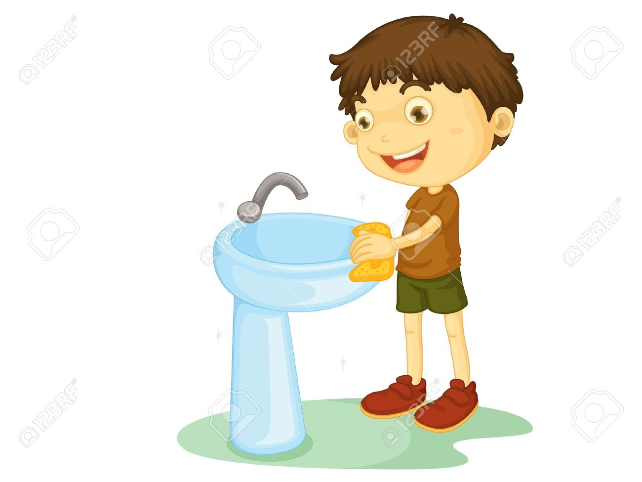 Clean bathroom sink clip art - Wash Basin Child Illustration On A White Background