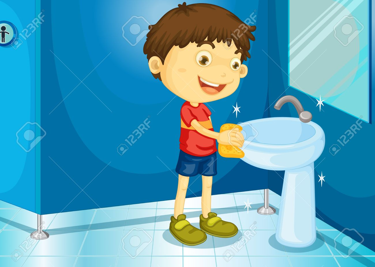 Illustration Of A Boy In Bathroom Stock Vector