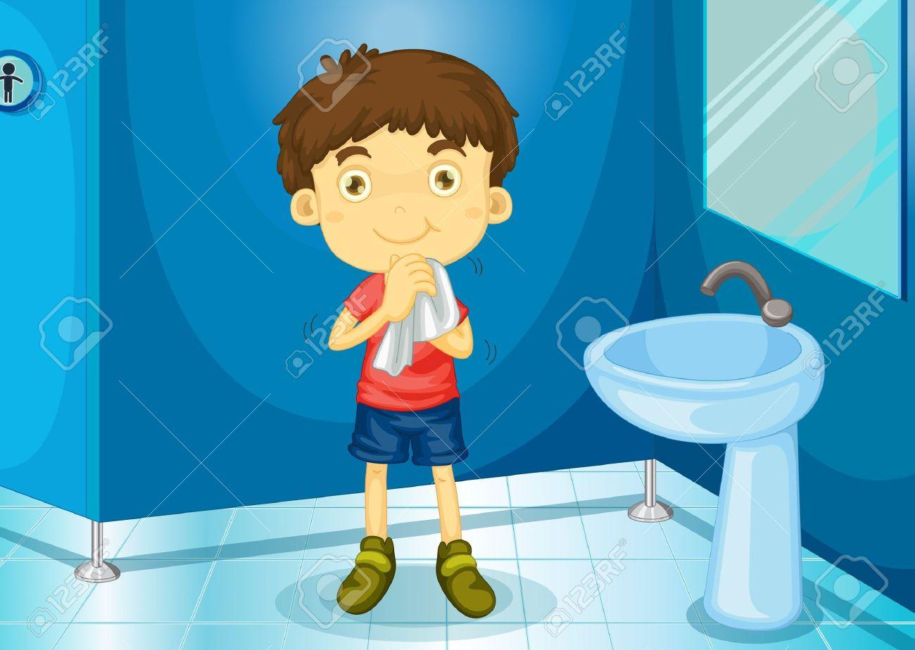 Illustration of a boy in a bathroom Stock Vector - 13131713