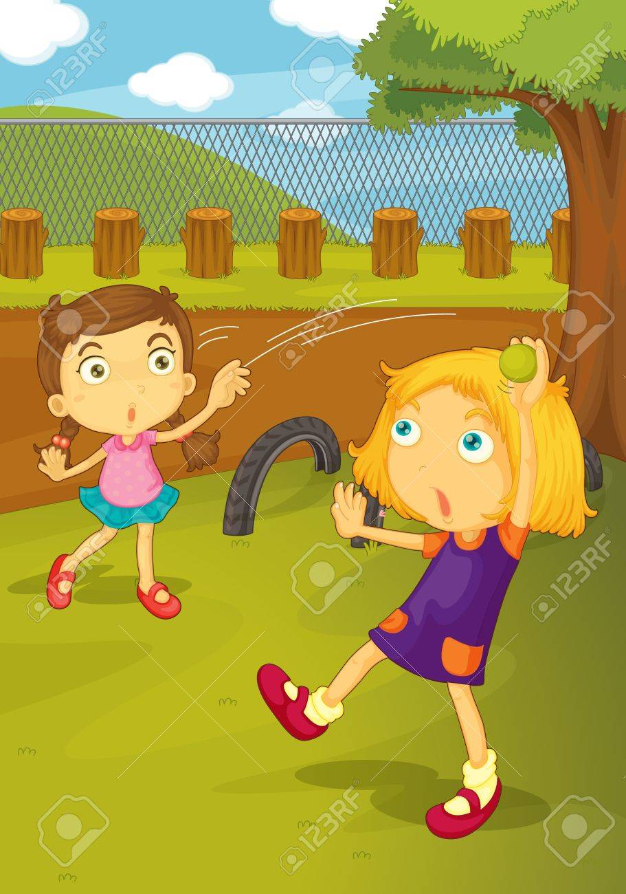 Illustration of kids playing in the yard Stock Vector - 13131883