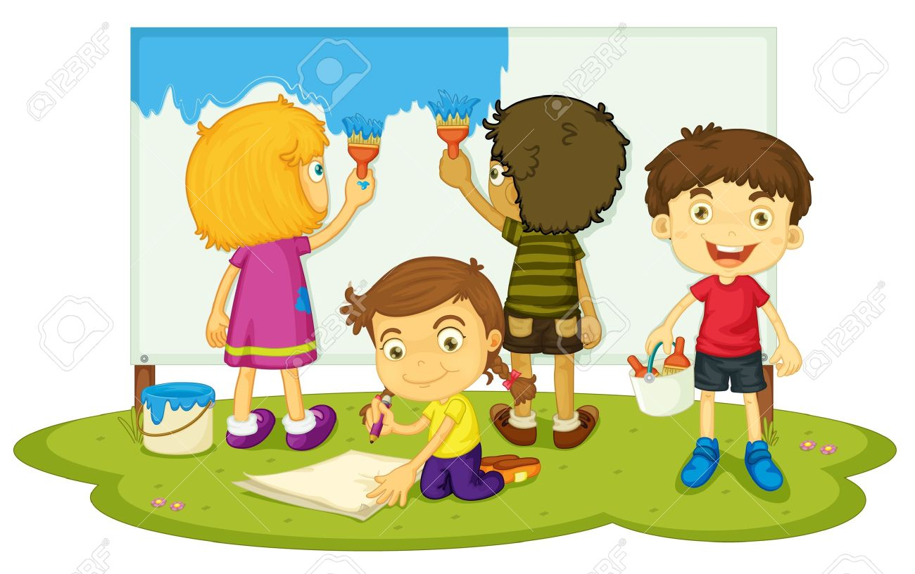 illustration of kids painting together stock vector 13131871