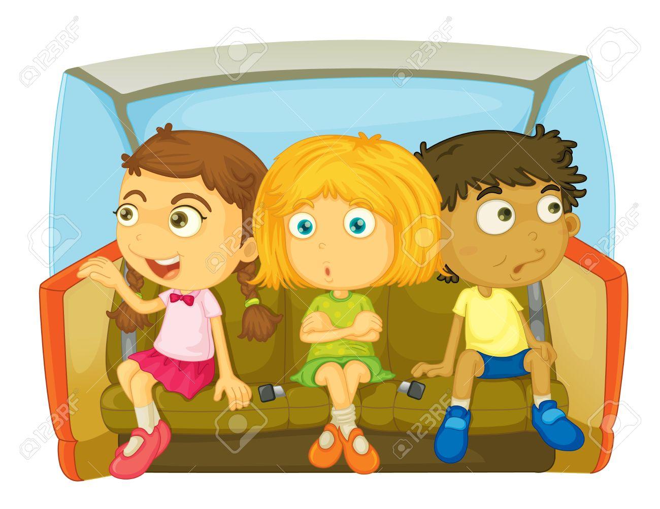 cartoon of kids in a car Stock Vector - 13131754