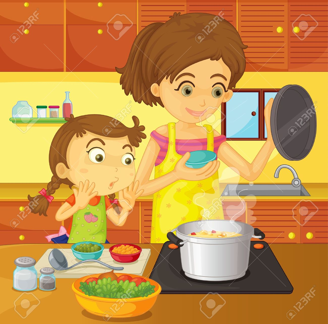 Selection of cartoons on cooking kitchens food and eating - Mother Cooking Illustration Of Helping At Home Concept Illustration
