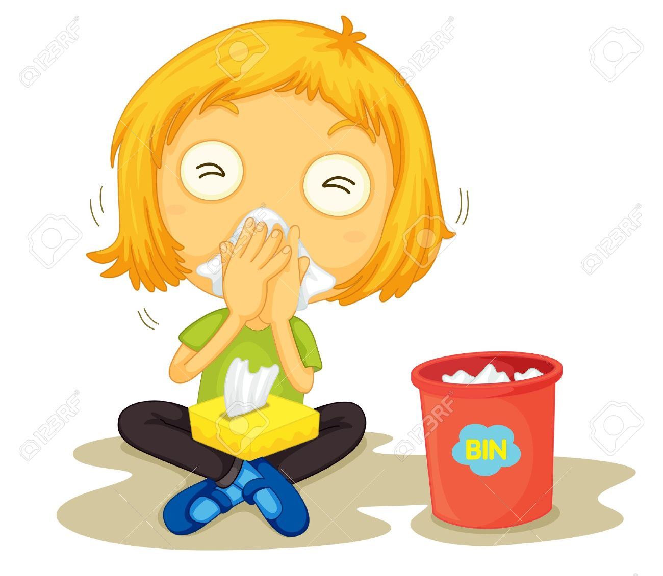 sick child illustration of a sick girl - Cartoon Picture Of Child