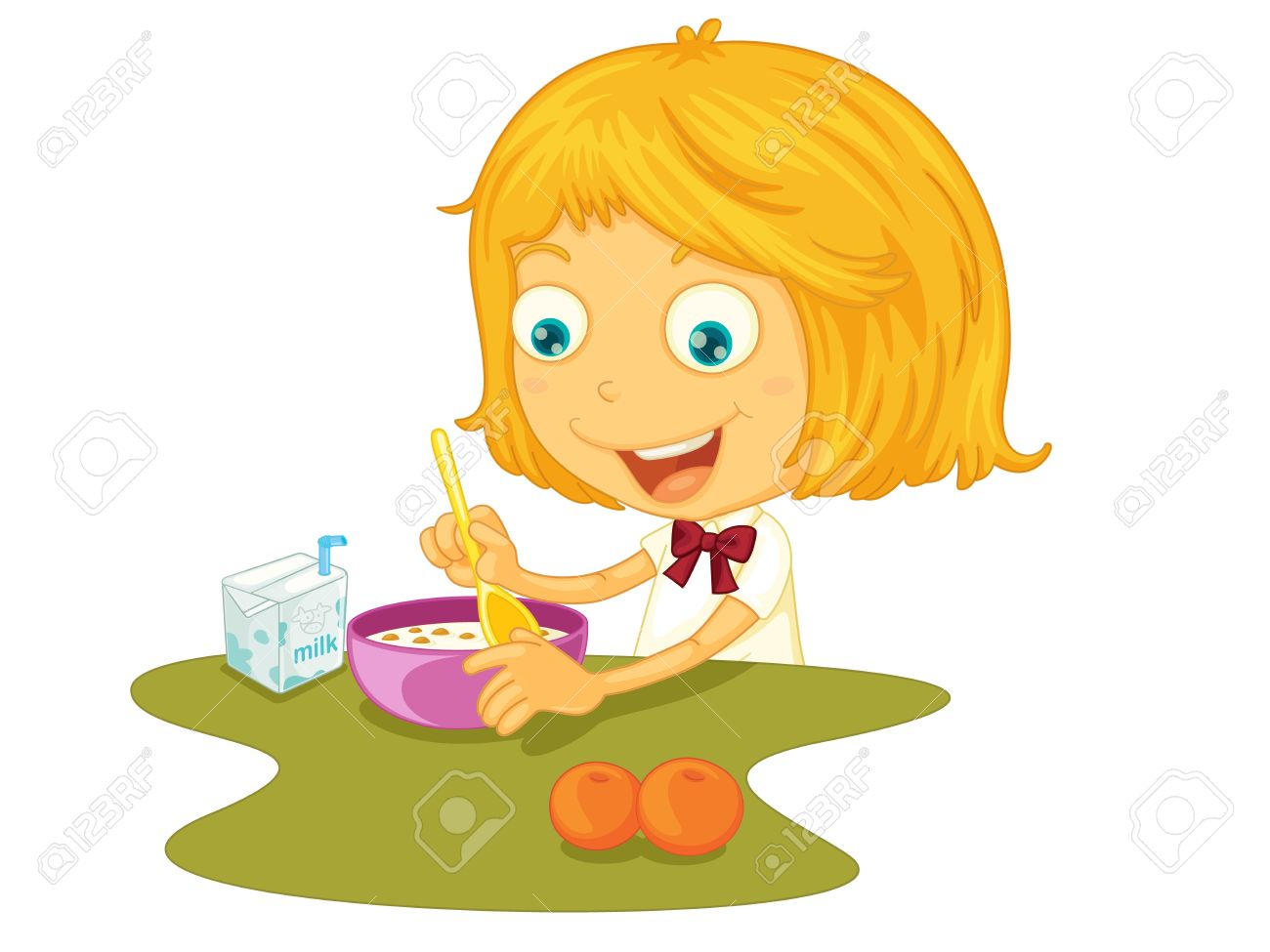 Dibujo De Un Niño Comiendo En Una Mesa Ilustraciones Vectoriales