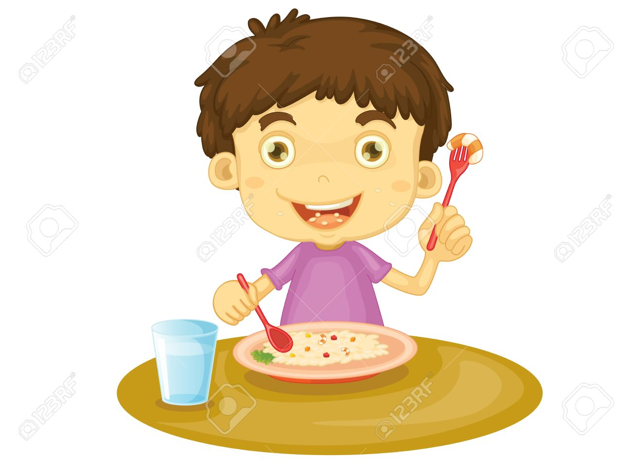 illustration of child eating at a table royalty free cliparts