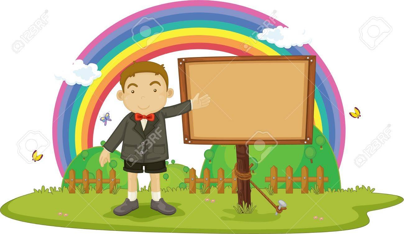 illustration of boy showing notice board Stock Vector - 13158343