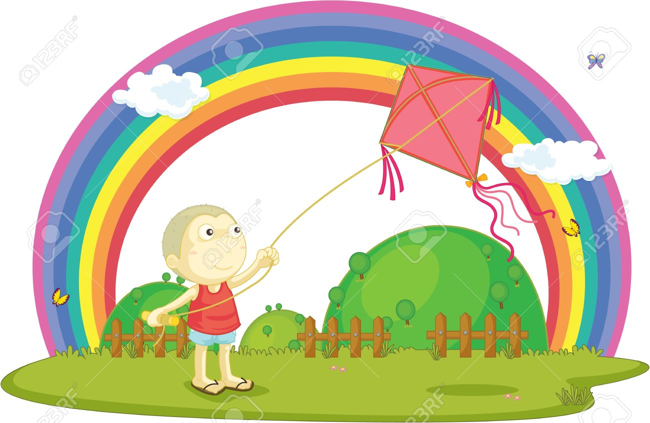 illustration of boy playing with kite Stock Vector - 13158326