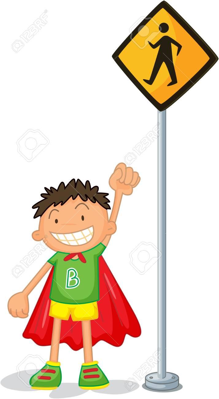 illustration of kids near the signal Stock Vector - 13158217