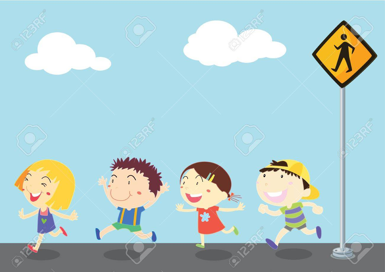 illustration of kids near the signal Stock Vector - 13158255