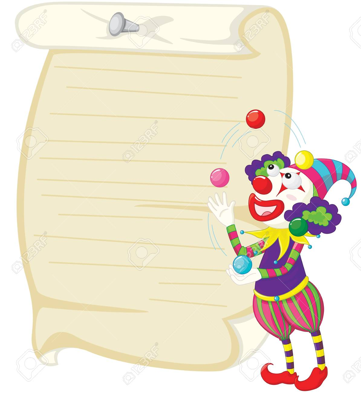 Illustration of a clown and paper Stock Vector - 13189322