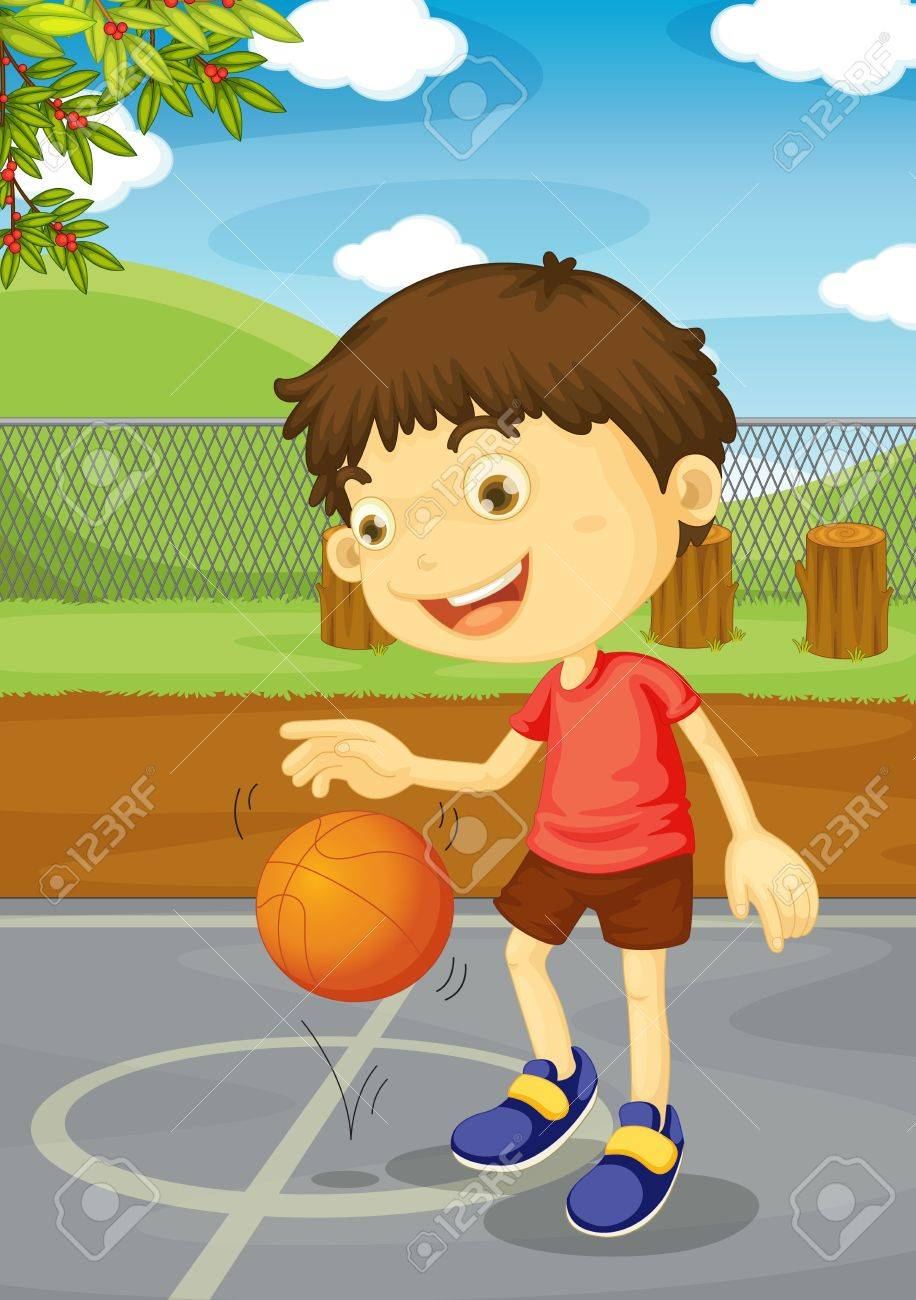 Illustration of a boy playing basketball Stock Vector - 13190180