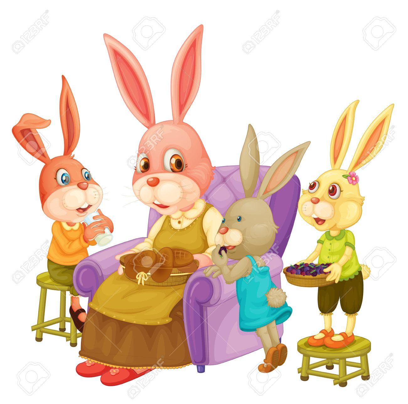 Illustration of family of rabbits Stock Vector - 13190236