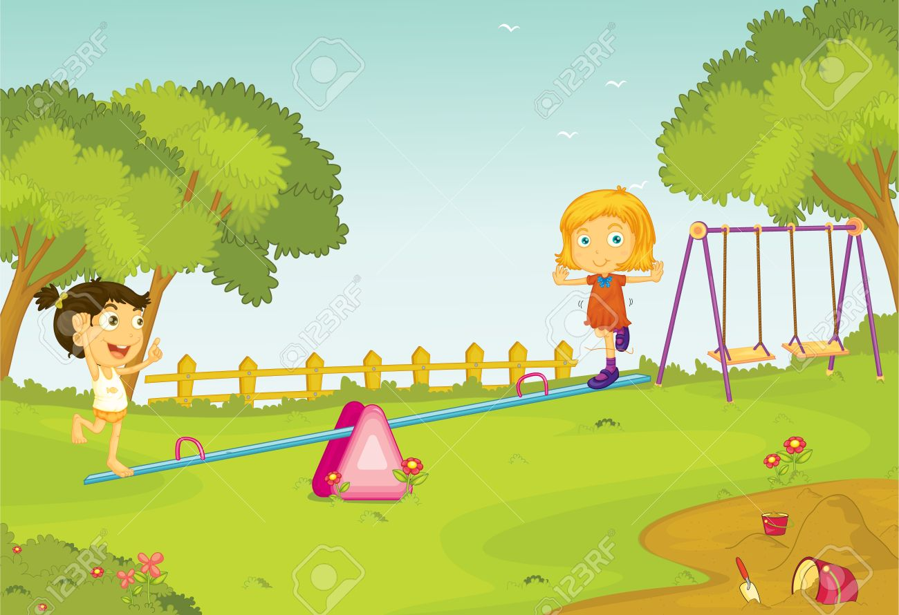 Illustration of kids on a seesaw Stock Vector - 13190232