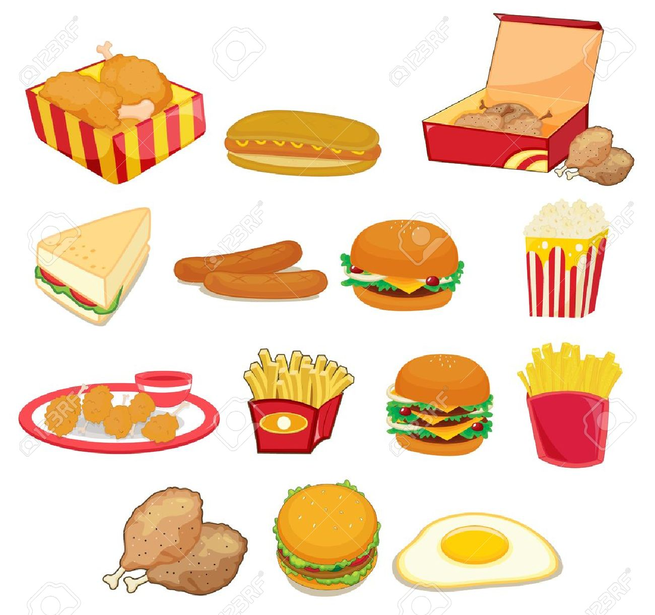 Illustration of junk food on w Stock Vector - 13190156