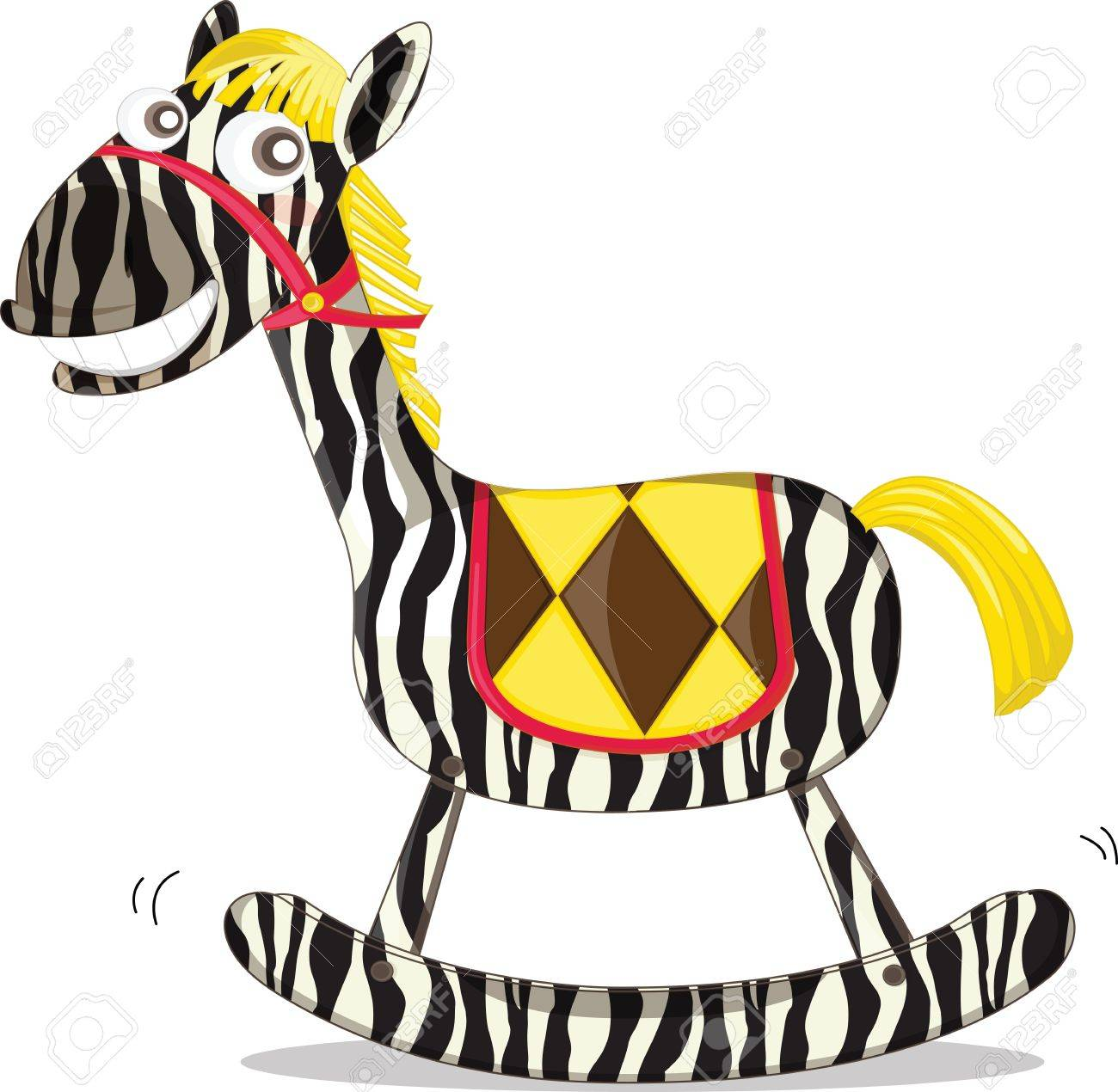 A rocking horse painted like a zebra Stock Vector - 13190075