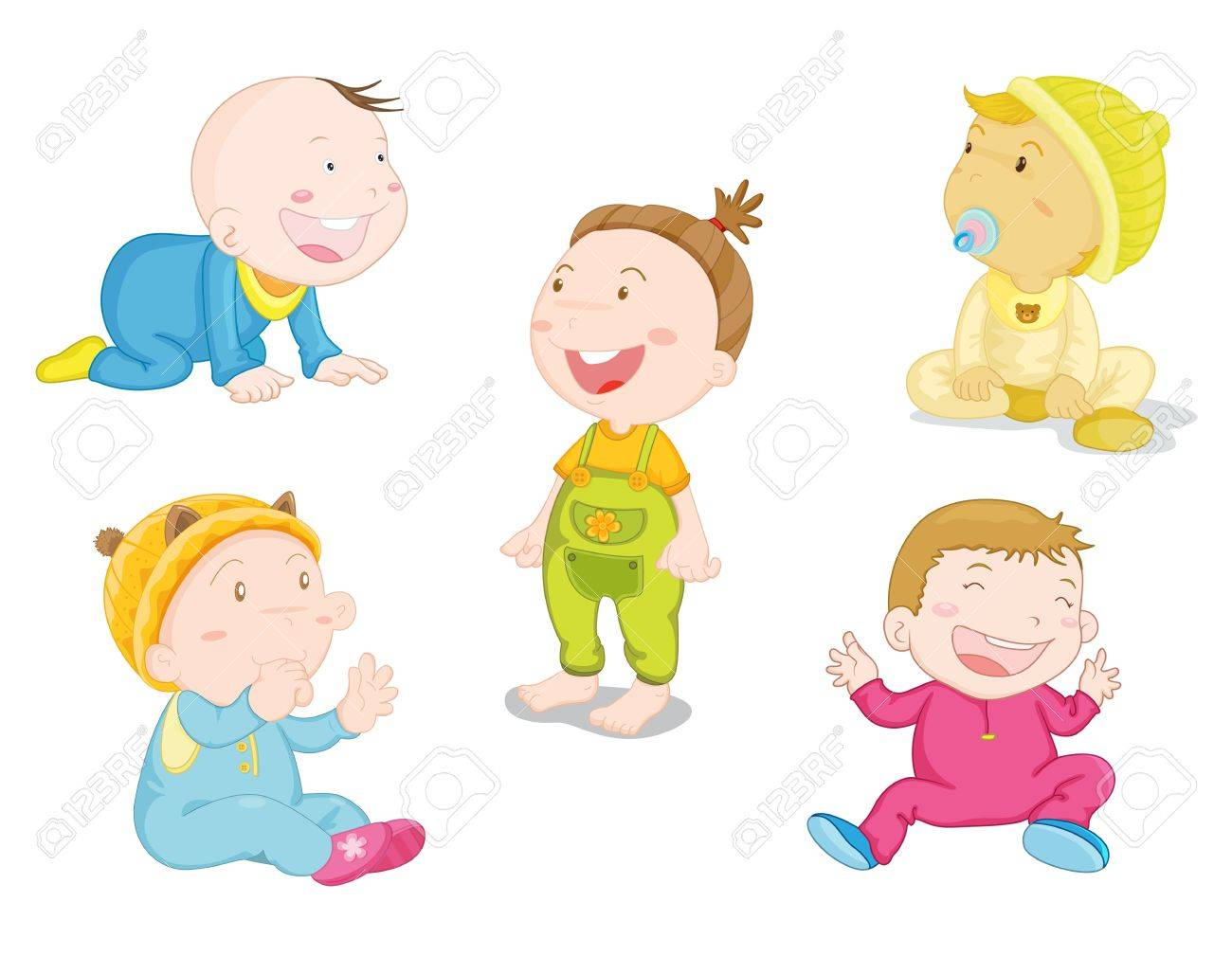 illustration of baby in differnt poses Stock Vector - 13190078