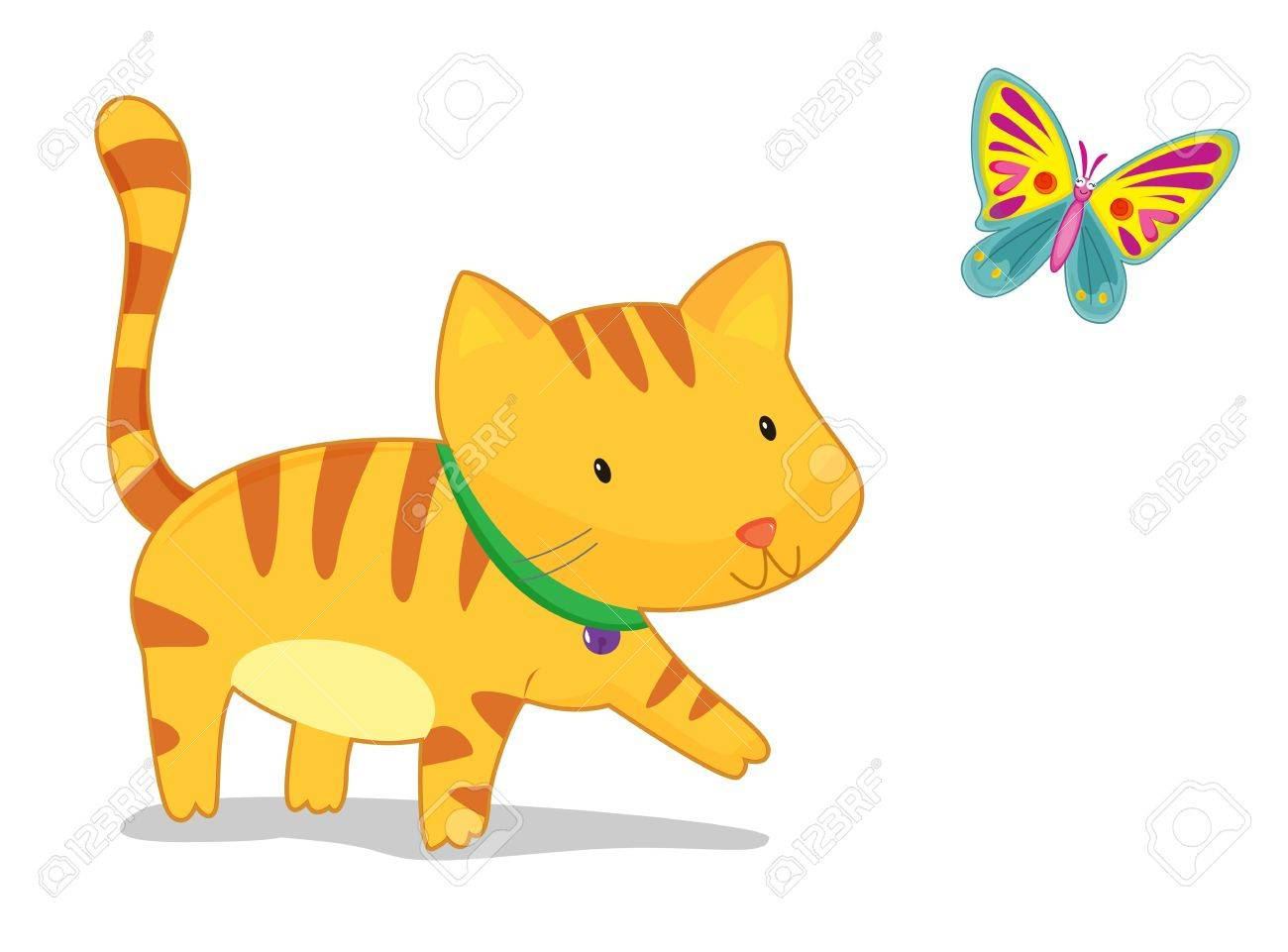 illustration of a cat and butterfly on white Stock Vector - 13190053