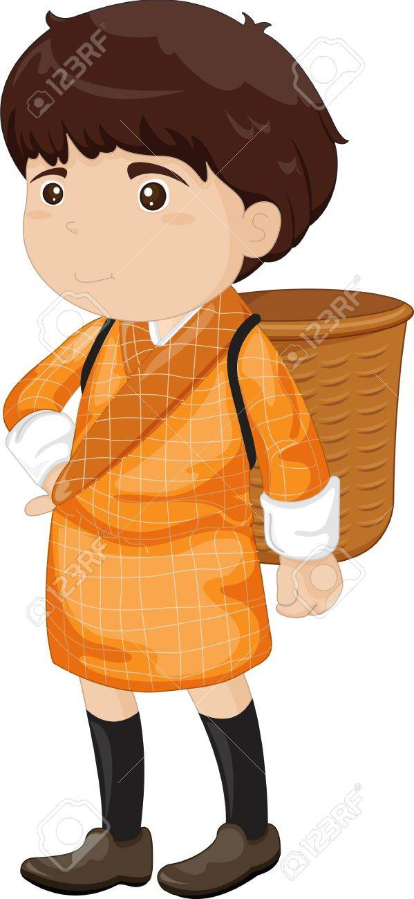 illustration of a boy wearing a basket Stock Vector - 13190058