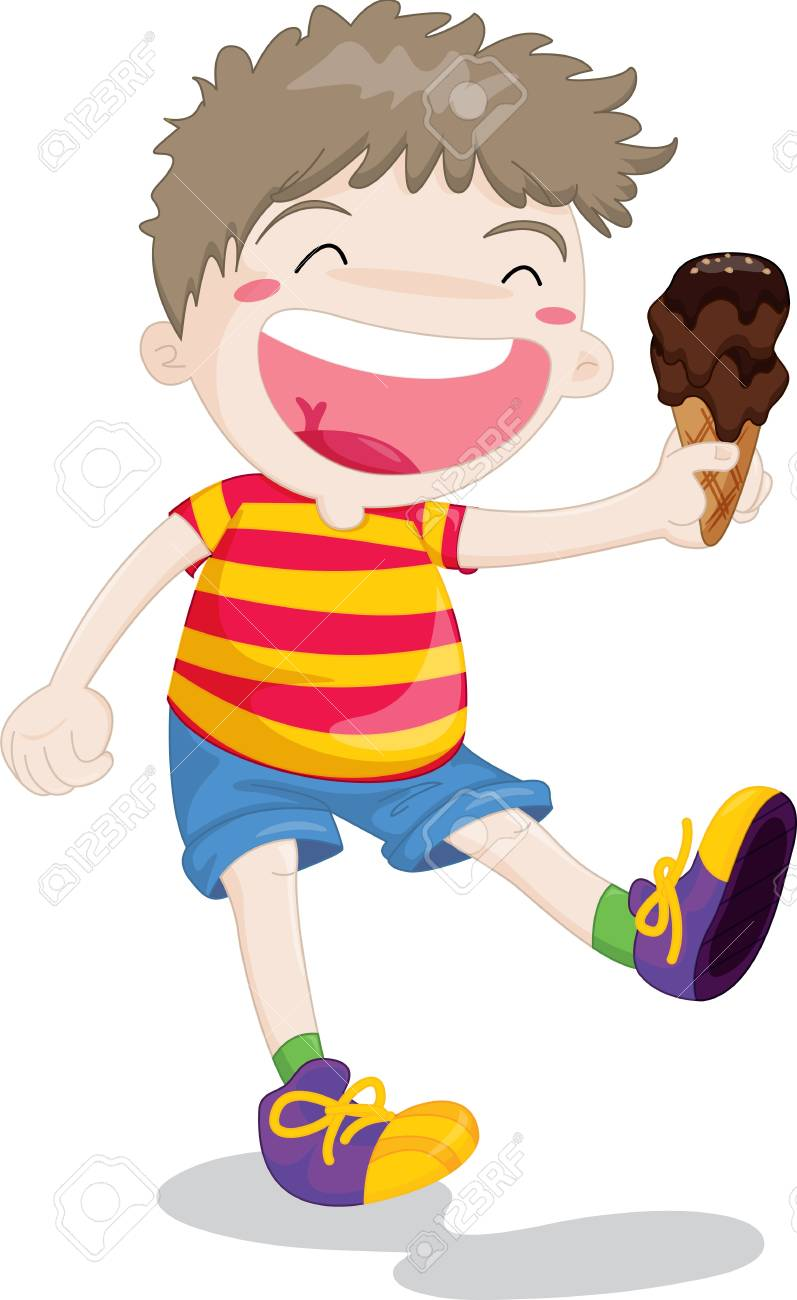 Illustration of boy with icecream in hand Stock Vector - 13189292
