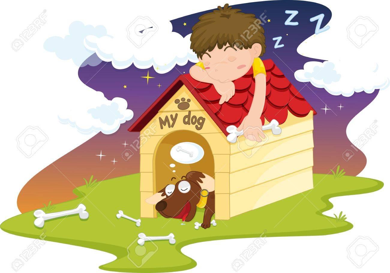 illustration of sleeping boy on dog house Stock Vector - 13190464