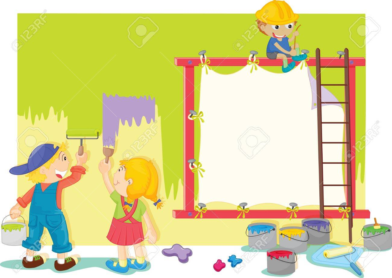 illustration of kids painting the wall stock vector 13190548