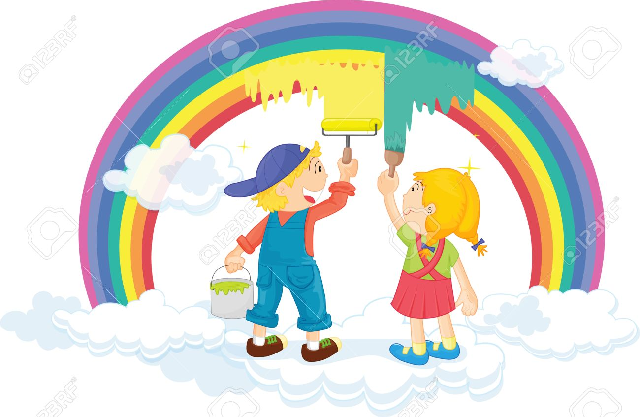 illustration of kids painting rainbow on white stock vector 13190462 - Painting Images For Kids