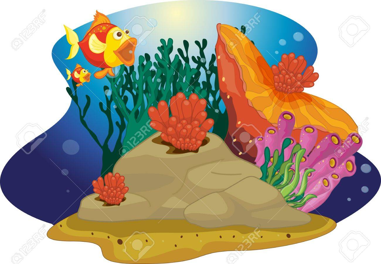 Fish mouths wow as it sees big plant Stock Vector - 13190549