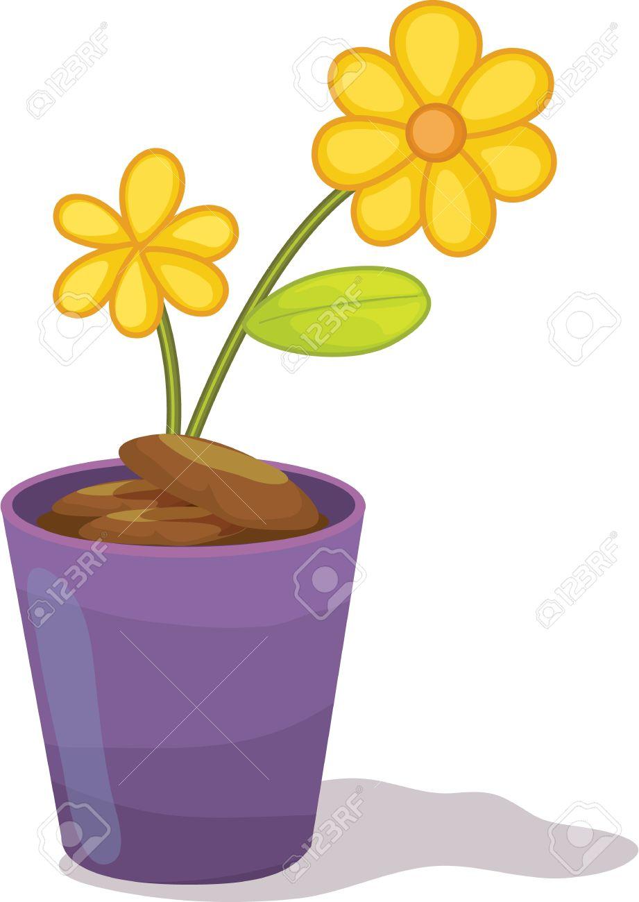 Yellow flowers in purple flower pot royalty free cliparts vectors vector yellow flowers in purple flower pot mightylinksfo