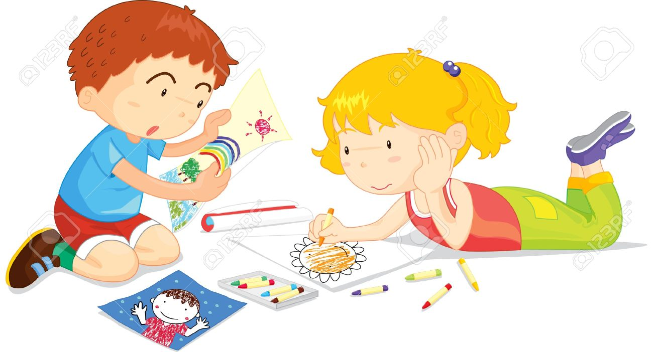 two children drawing pictures together stock vector 13215664 - Children Drawing Images
