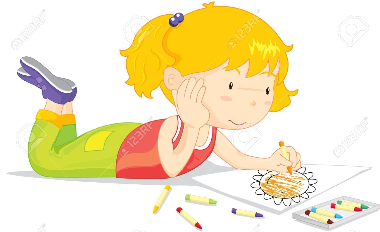 Blonde Girl Colouring A Picture Of A Flower Royalty Free Cliparts ...