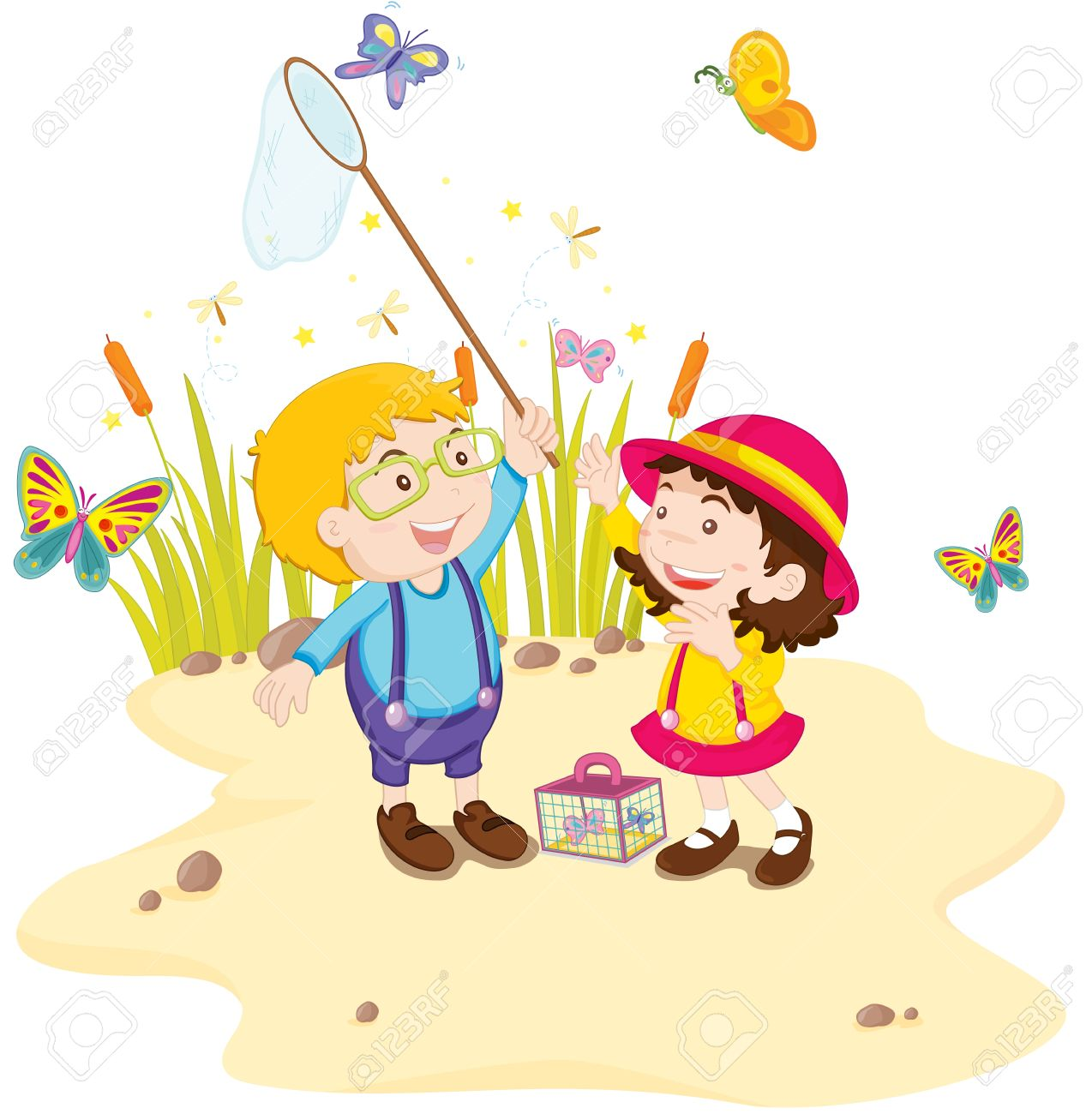 A pair of children catching butterflies Stock Vector - 13215989