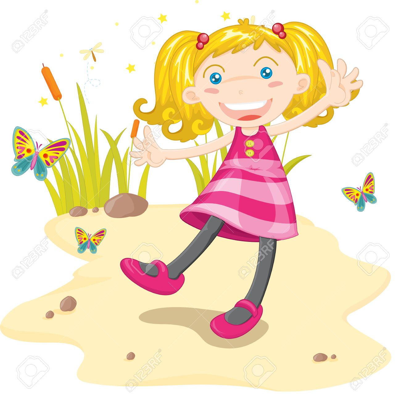 Girl dancing on sand with butterflies Stock Vector - 13215590