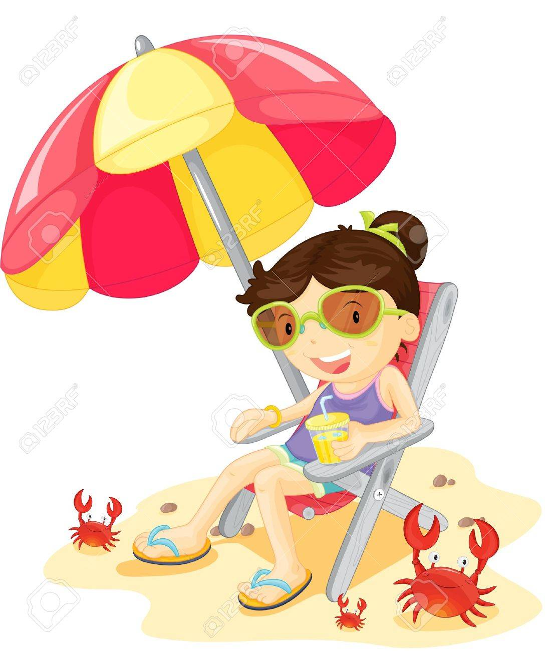 Beach chair and umbrella sketch - Illustration Of Girl Sitting On Chair Stock Vector 13215979