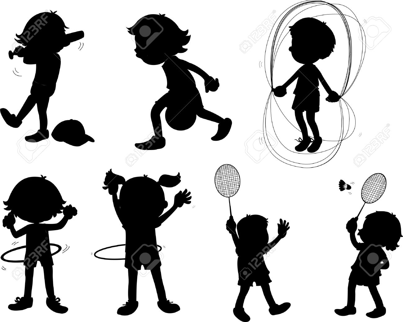 illustration of images of shadows of kids Stock Vector - 13206622
