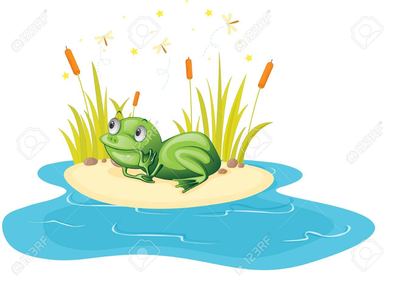 illustration of frog sitting near pond Stock Vector - 13215523