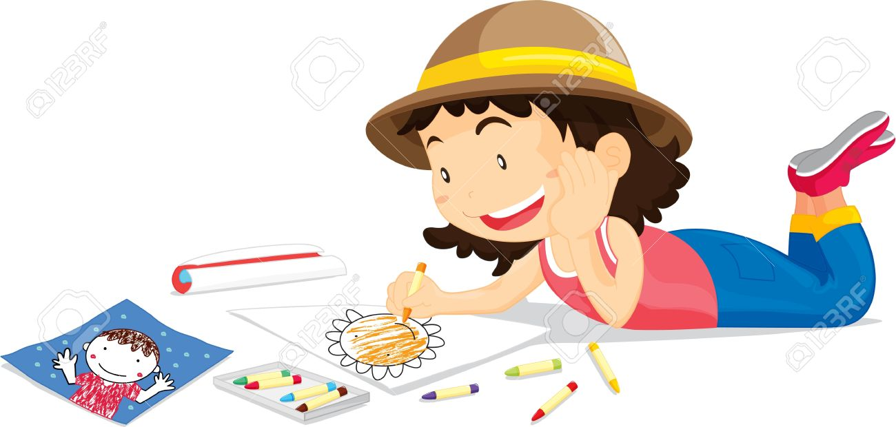 Girl in hat colouring picture of flower Stock Vector - 13215758