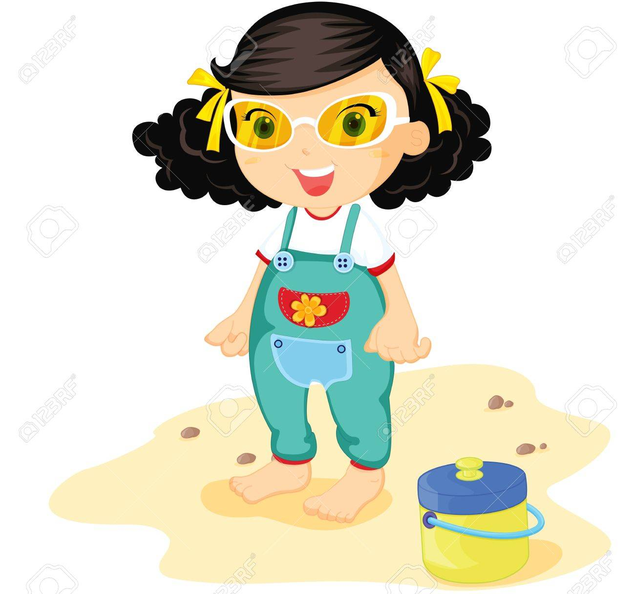 Toddler in green overalls on beach Stock Vector - 13215342