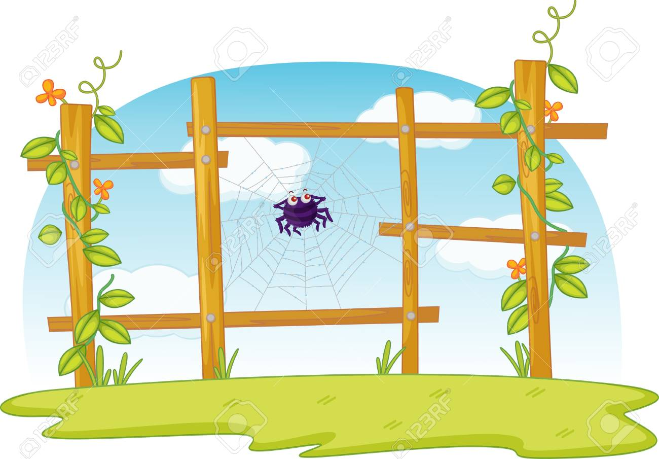 Spider's web in fence with sky Stock Vector - 13215666