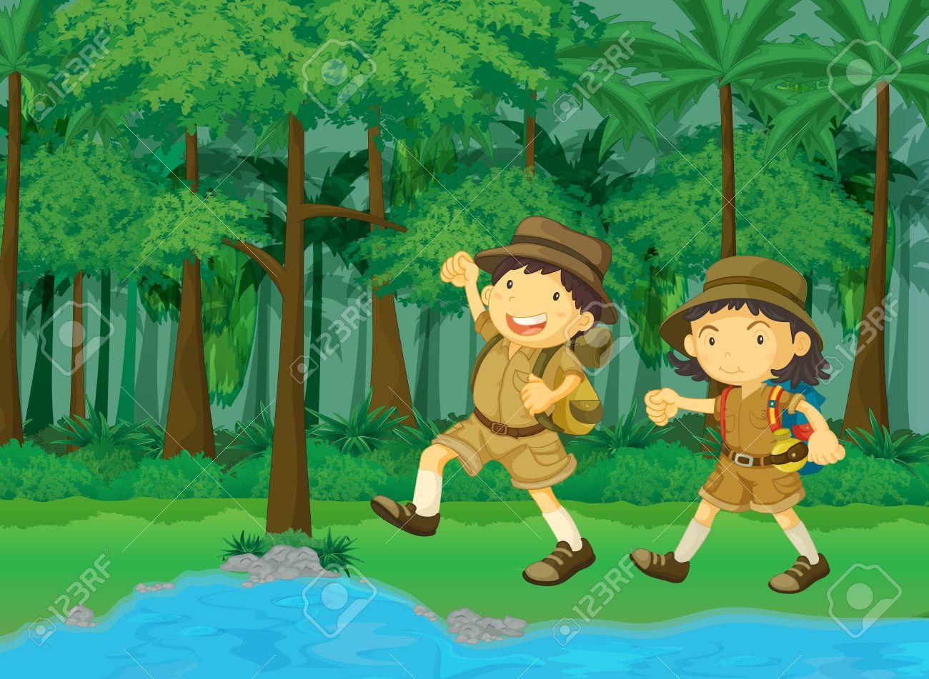 rainforest and water cartoon scene Stock Photo - 13215766