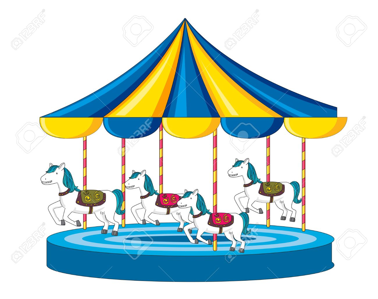 Illustration Of Merry Go Round On White Stock Photo, Picture And ...