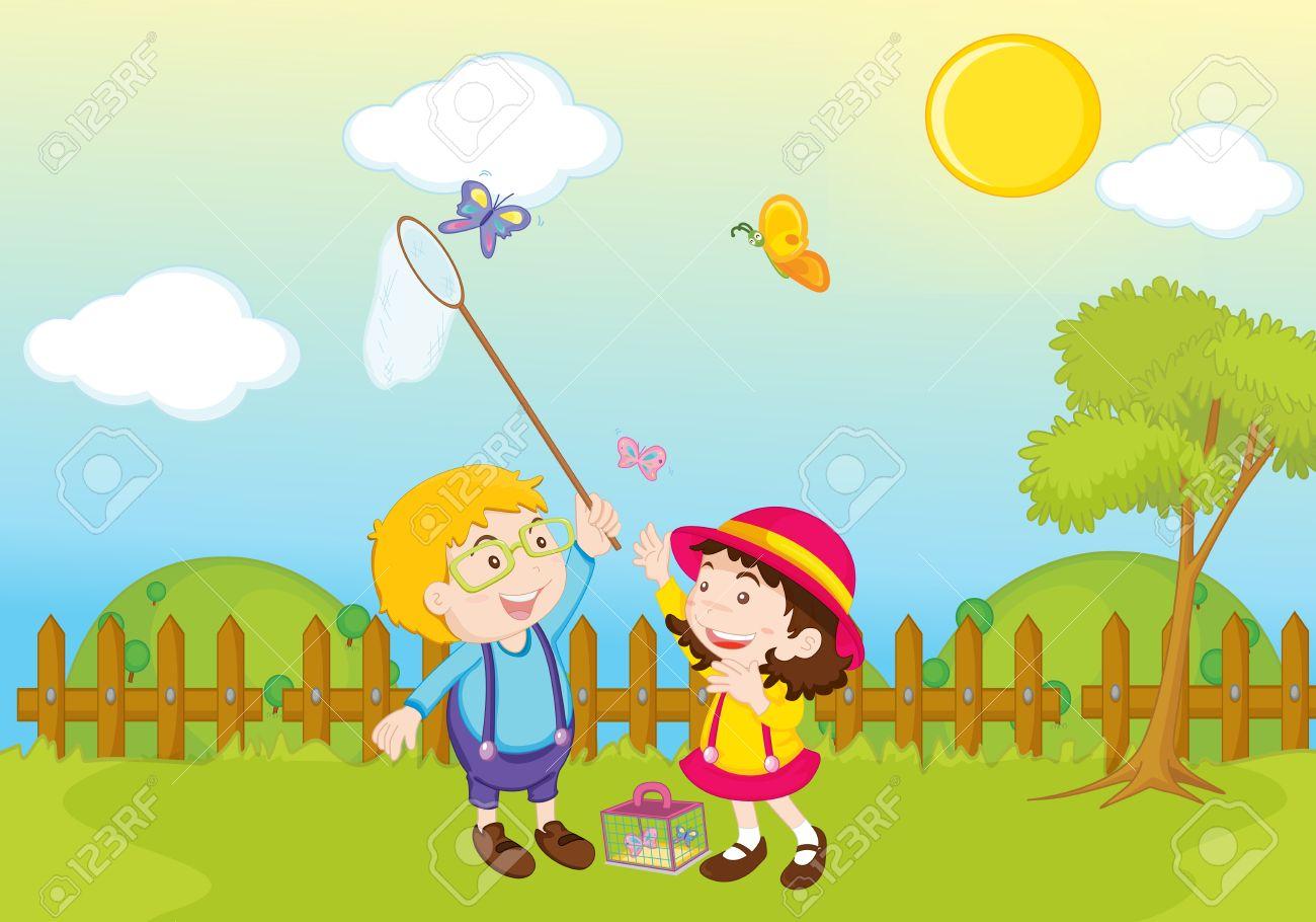 Playing garden drawing for kids - Garden Park Illustration Scene Stock Illustration 13227986