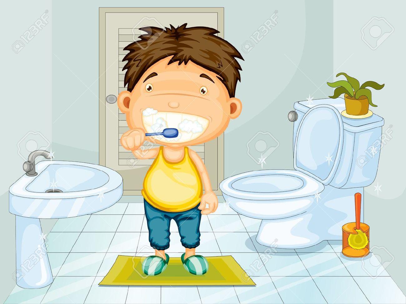 Boy Brushing Teeth In Bathroom Stock Vector   13233420