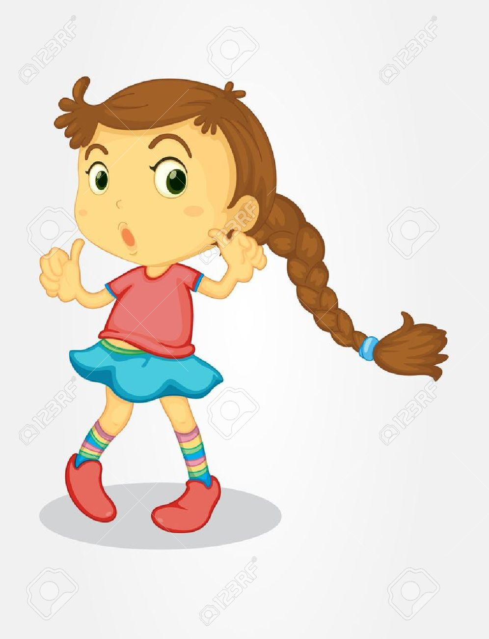 illustration of young girl with long hair royalty free cliparts rh 123rf com how to draw a cartoon girl with long hair cartoon girl with long black hair
