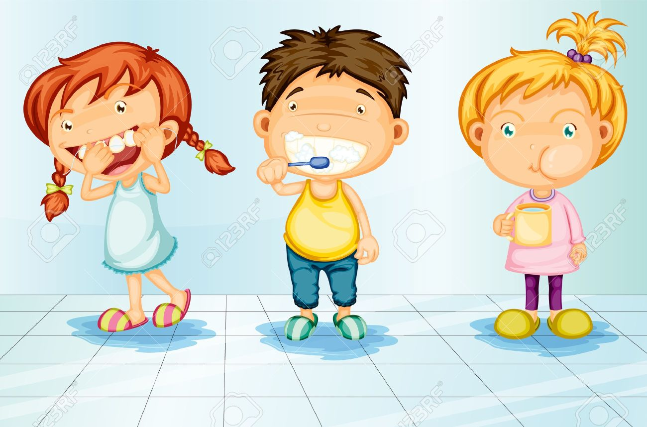 Kids caring for teeth illustration Stock Vector - 13233424