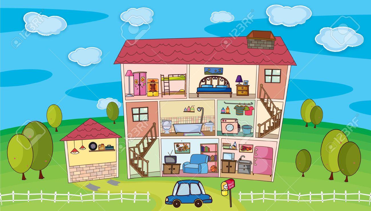 Illustration à L\'intérieur D\'une Maison Clip Art Libres De Droits ...